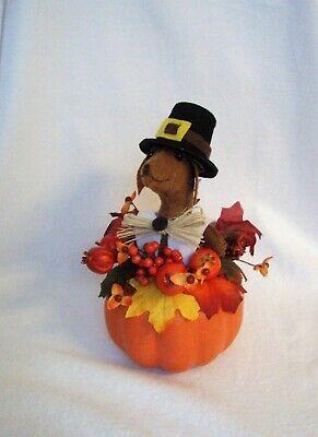 Felt Dachshund Red Brown Sculpture Pilgrim Boy Pumpkin Thanksgiving Table decor