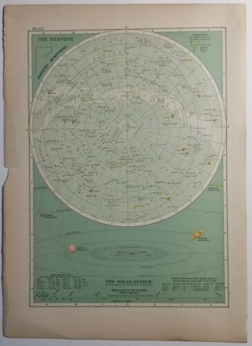 The Heavens - Northern Hemisphere Celestial Star and Solar System Map 1897