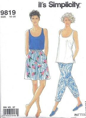Women's 1990's Long Wide Leg Shorts Pants Tank Top Sewing Pattern UNCUT