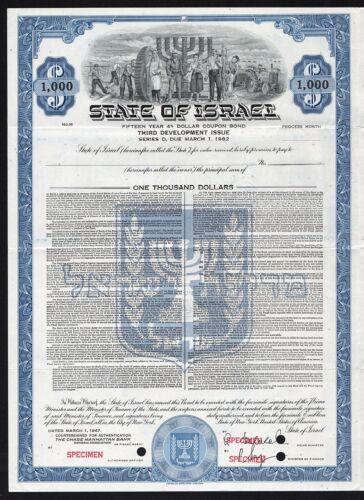 1967 State of Israel, $1000 Dollar Bond - Specimen