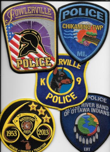 Clearance:  Michigan - 5 Patch Set - # 13 shoulder police patch (fire)