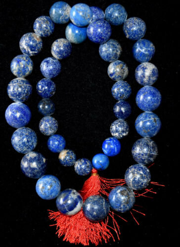 "Huge Antique Chinese Lapis Lazuli Round Ball Beads Necklace 30"" Long"