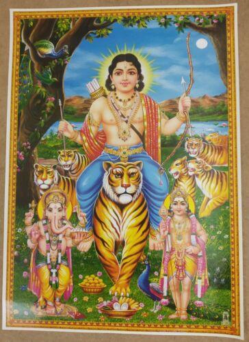 """Lord Ayyappa Ayyappan Ganesh & Kartikeya - 14"""" X 10"""" inches Hindu Poster #1253"""