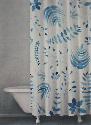 Kassatex Linens ~ Shower Curtain ~ Fern Leaves Botanical Blue & White Spa Bath