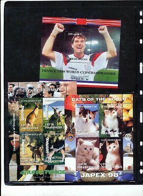 Turkmenistan Soccer Cats Kangaroo Tigers Sheets MNH x 6(ZZ1536