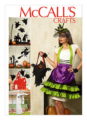 McCall's Costume Pattern Halloween Home Decorations Apron Hats Witches Ghosts - Halloween Ghost Costume Pattern