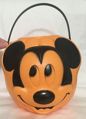 Vintage Disney Mickey Mouse Halloween Pumpkin Bucket Trick Or Treat Candy Bucket