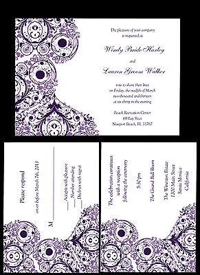 100 Personalized Custom Purple Swirl Wedding Invitations  RSVP reception cards