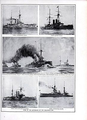 1911 PRINT ~ TYPES OF BATTLE SHIPS IN EDWARDIAN ERA ~ ALBEMARLE HMS QUEEN NELSON