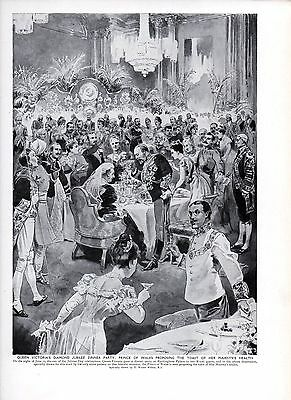 1911 PRINT ~ QUEEN VICORIAS DIAMOND JUBILEE DINNER PARTY ~ T WALTER WILSON