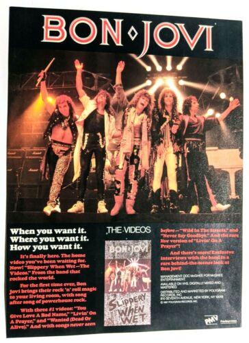JON BON JOVI / RICHIE SAMBORO / SLIPPERY WHEN WET VHS TAPE MAGAZINE PRINT AD