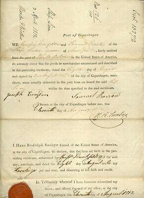 1812 DOCUMENT CARGO RECEIVED IN COPENHAGEN VERIFIED U S CONSUL HANS SAABYE