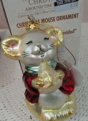 Christmas Around the World Merry Christmas mouse with cheese glass ornament