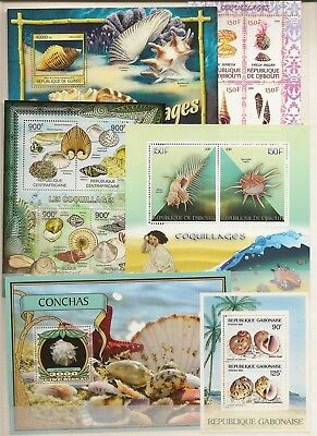 SHELLS MINIATURE SHEETS MNH (125) FOREIGN 2000-17 PREDOMINATELY AFRICAN