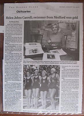 Obituary  Boston Globe 8 15 2014  Helen Johns Carroll Olympic Gold Medal Winner