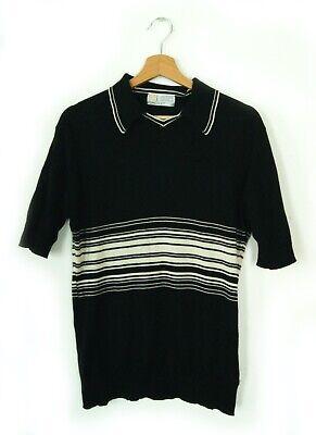 John Smedley polo shirt – Black & Cream – M – Mod