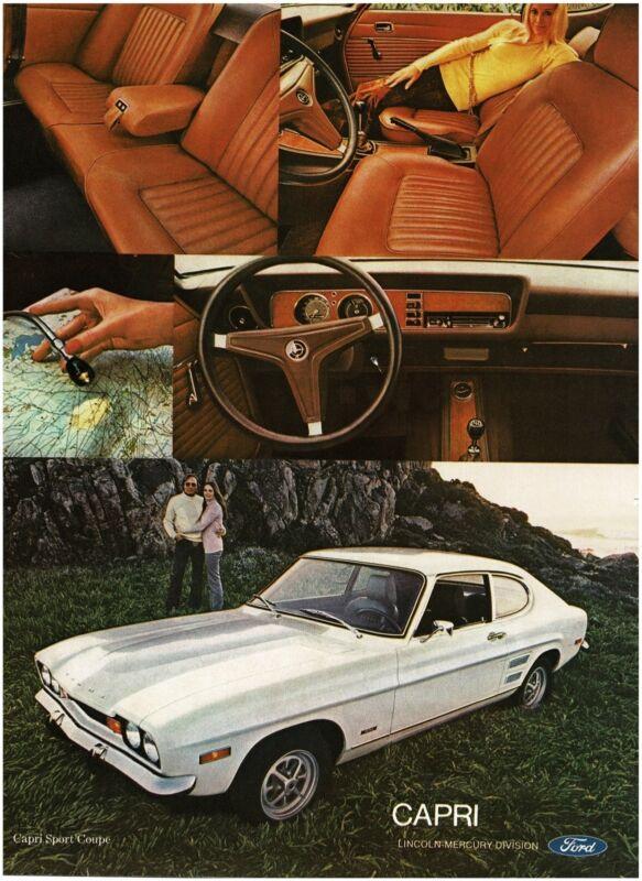 1972 Mercury CAPRI Sport Coupe White with Interior Views Vintage Ad