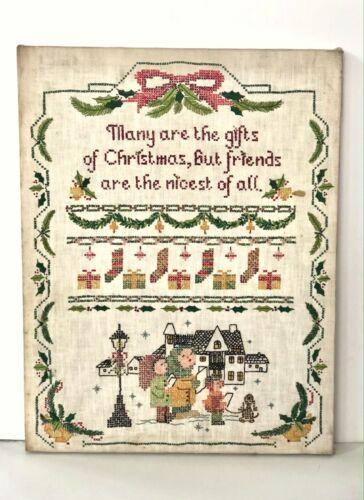 "Vintage Christmas Cross-Stitch Decor 14""x18"" - Completed LeeWard"