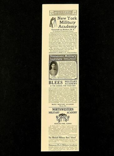 Antique 1908 Military Academy School Advertisements New York Tennessee Blees