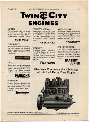 1929 Twin City Engines Ad: Minneapolis Moline.  List of Cranes Using Twin City