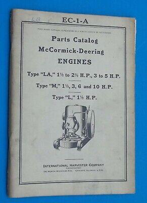 Vintage 1938 International Parts Catalog Mccormick-deering Engines Hit-miss Lk