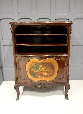 VICTORIAN ROSEWOOD & PAINTED PANEL CABINET WITH GILT METAL MOUNTS