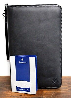 New 7.5x11 Silversea Black Real Leather Wrist Strap Business Planner Organizer