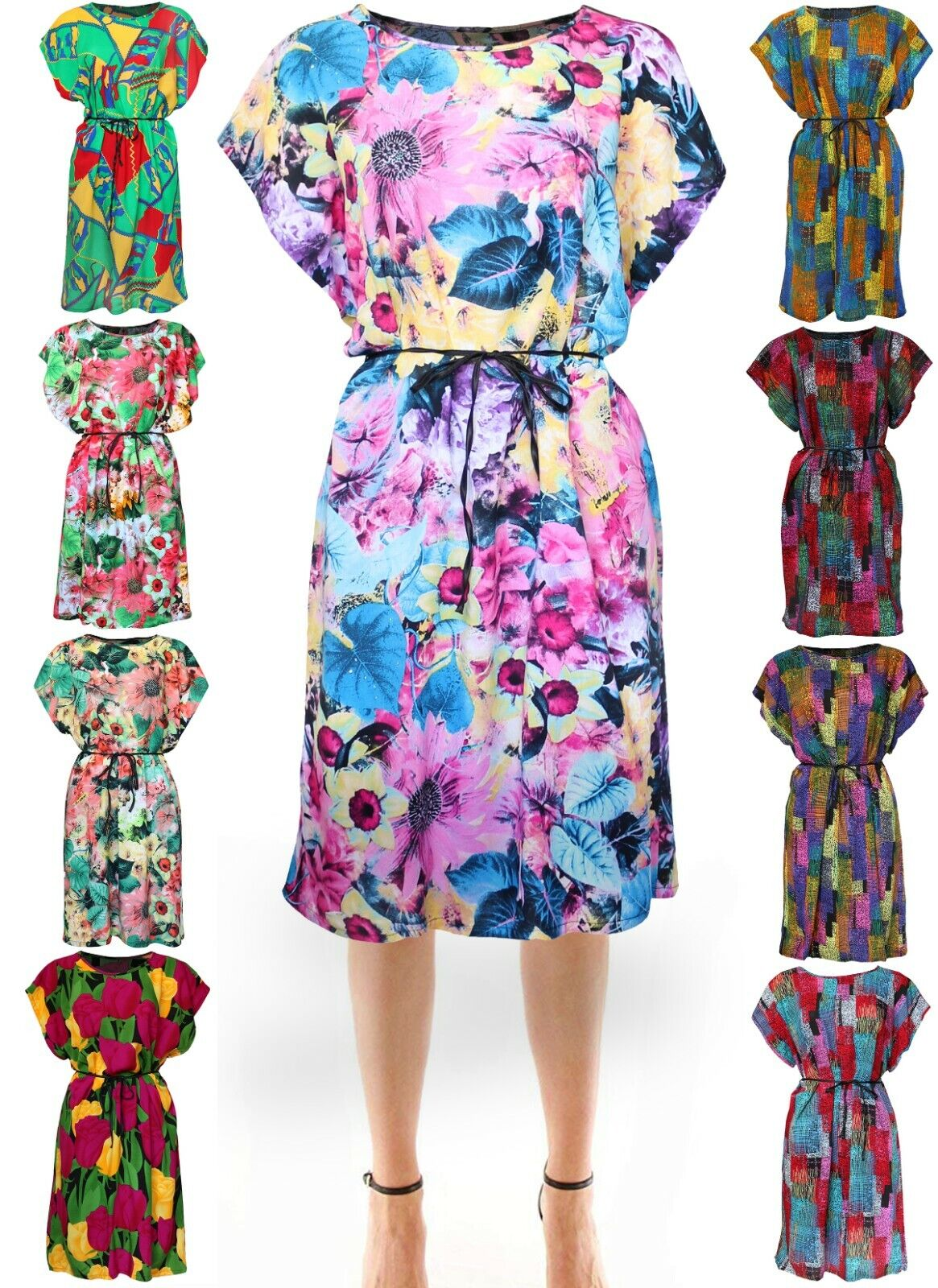 Women's Cotton Summer Vintage, African, Flower Tunic Dress Clothing, Shoes & Accessories