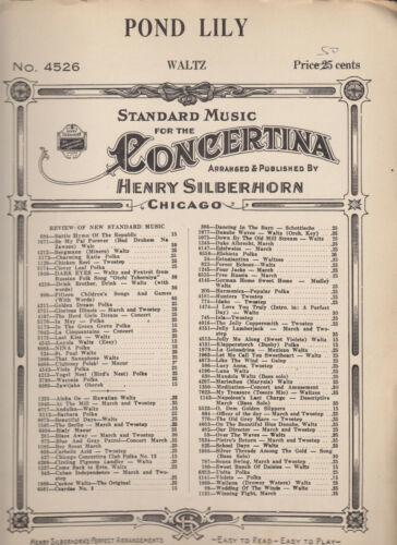 POND LILY WALTZ  #4526 HENRY SILBERHORN Concertina sheet music