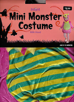 Cute Pink Mini Monster Costume With Hood - Infant 6-12 MOS - New