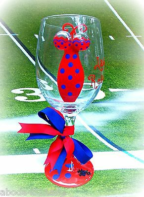 Ole Miss Rebels Wine Glass Team Football Tailgate Party Bar (Ole Miss Glassware)