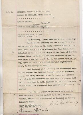 1925 MOTION IN COURT CASE AGAINST BROOKLYN CITY RAILROAD COMPANY - RAPE