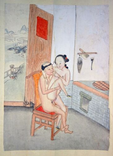 19C Chinese Erotic Pillow Color Paintings for Newly Married Couple (SoM)#6