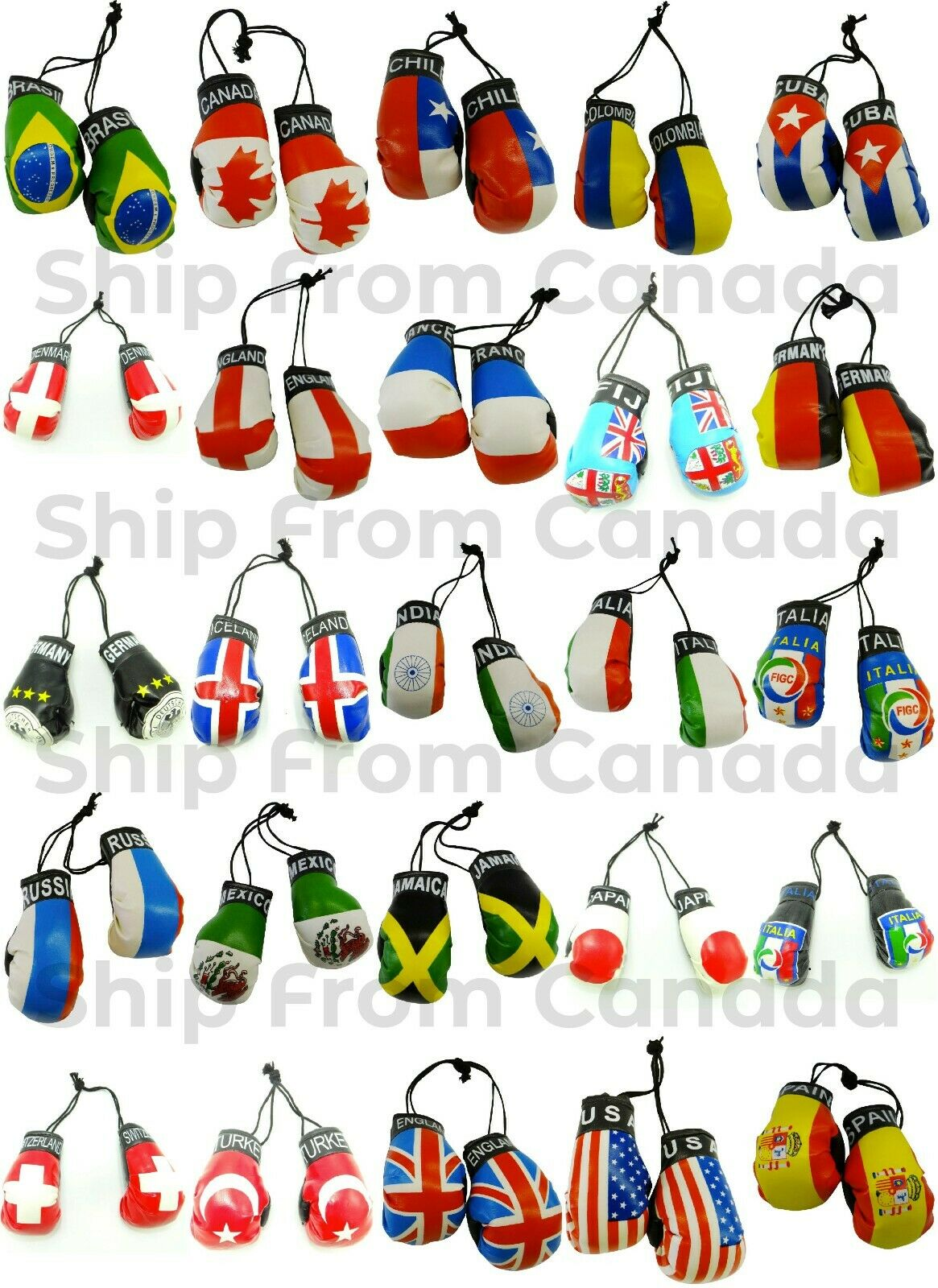 как выглядит High Quality Country Flag MINI BOXING GLOVES - Rear View Mirror Gloves - New фото
