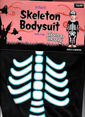 Cute Glow In The Dark Skeleton Bodysuit Costume And Hat - Infant 6-12 MOS - New