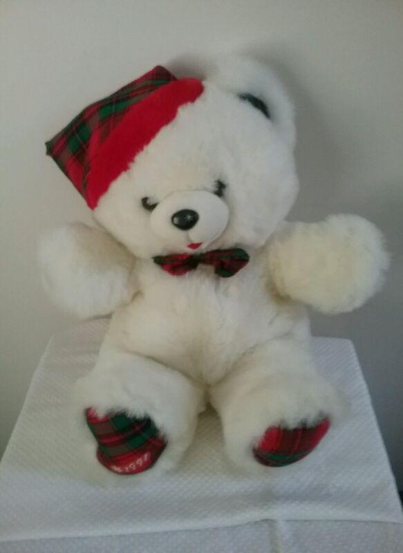 "Collectible 1991 22"" plush white stuffed boy Snowflake teddy bear Christmas"