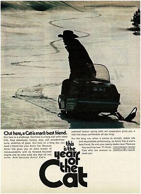 1971 ARCTIC CAT Cowboy On Snowmobile Vintage Print Ad