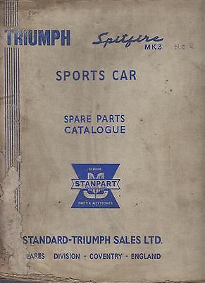 TRIUMPH SPITFIRE MK3 ( 1967-1970 ) ORIGINAL FACTORY SPARE PARTS CATALOGUE