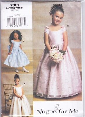 Vogue 7681 6-8 Sewing Pattern Little Girls Dress or Gown Flower Girl