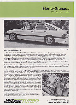 Janspeed Turbo brochure for FORD 2.8 ltr XR and Granada cars - c1988