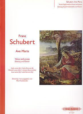 FRANZ SCHUBERT AVE MARIA VOICE CLASSICAL PIANO MUSIC BOOK ED PETERS B0029U2SOA Ave Maria Music Book