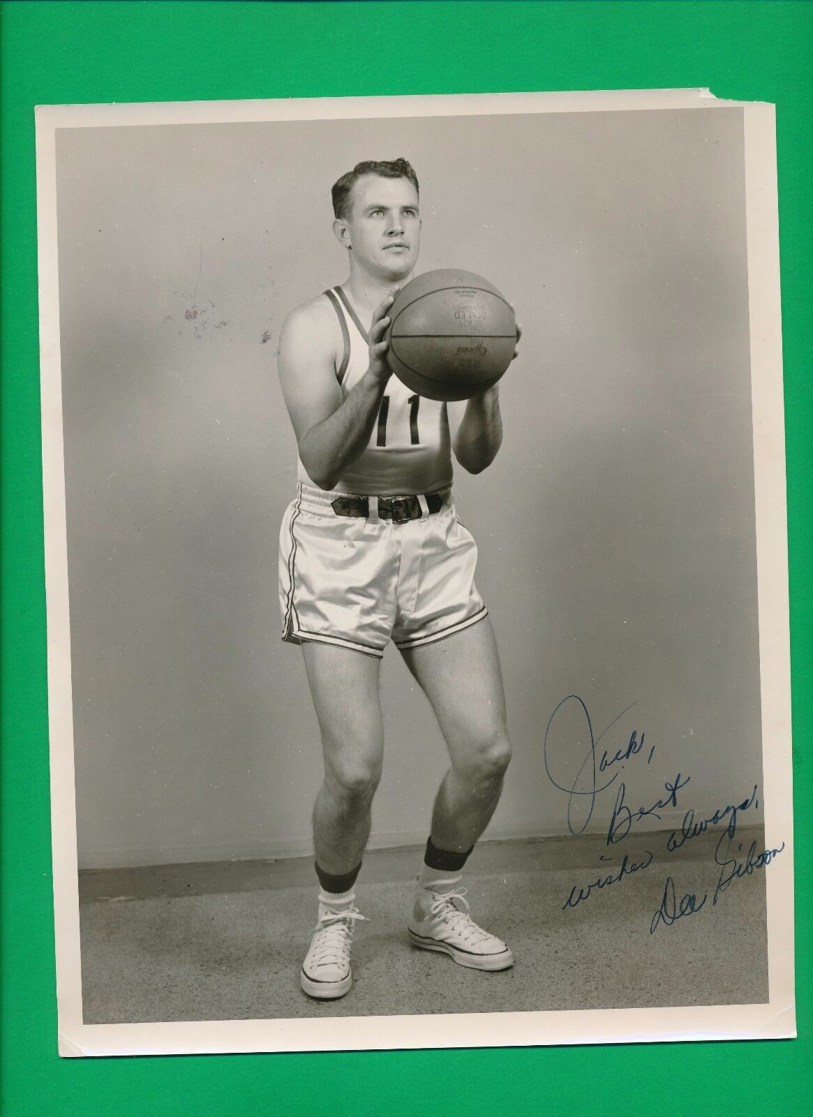 ORIGINAL 1946 DEE GIBSON SIGNED WESTERN KENTUCKY BASKETBALL PHOTO + Letter