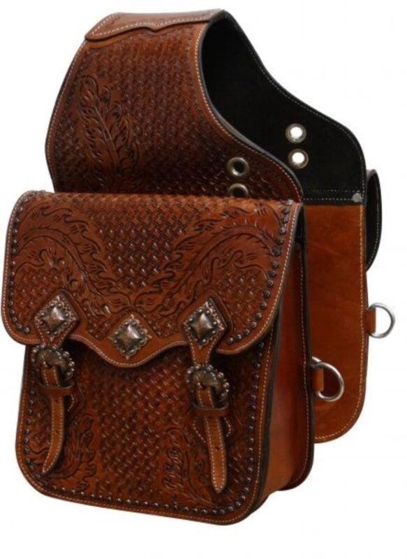 Showman Oak Leaf & Basket Weave Tooled Leather Saddle Bag W/ Copper Conchos!
