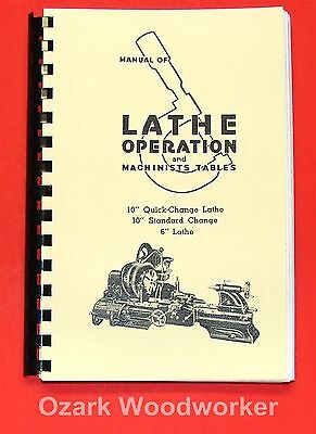 """Atlas Craftsman Manual of Lathe Operation Book for 10"""" and 6"""" 0032"""