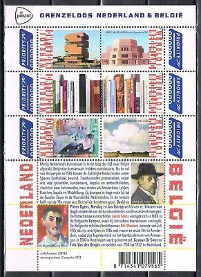 Nederland 2013 vel 3089-3094 A grenzeloos Nederland - België - beeldende kunst