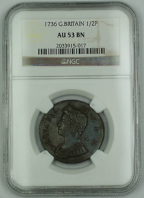 Click now to see the BUY IT NOW Price! 1736 GREAT BRITAIN 1/2 PENNY COIN GEORGE II NGC AU 53 BN BROWN AKR