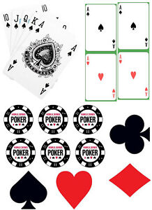 Playing Cards, Poker Chips & Card Suits A4 Edible Printed Iced Sheet