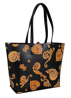 Versace Jeans Couture Black/Gold Large Baroque Shopper Tote Bag