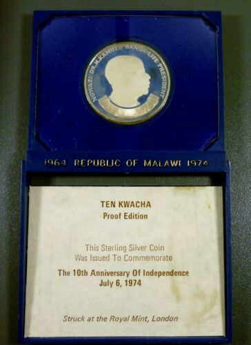 1974 Republic Of Malawi 10th Aniversary Of Independence Silver Proof Coin