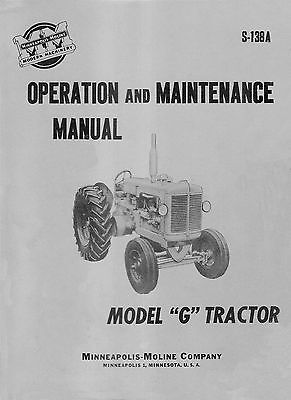 Minneapolis Moline Model G Operator Maintenance Manual S-138a